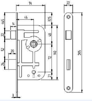 Låshus 40T-45 för toalettdörr