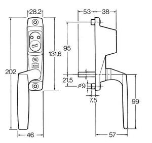 Fix låsbart spanjoletthandtag 835S